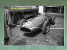 "MASERATI 250F Jo Bonnier in Silverstone paddock 1958 Brit GP.Amateur 10x7""photo"